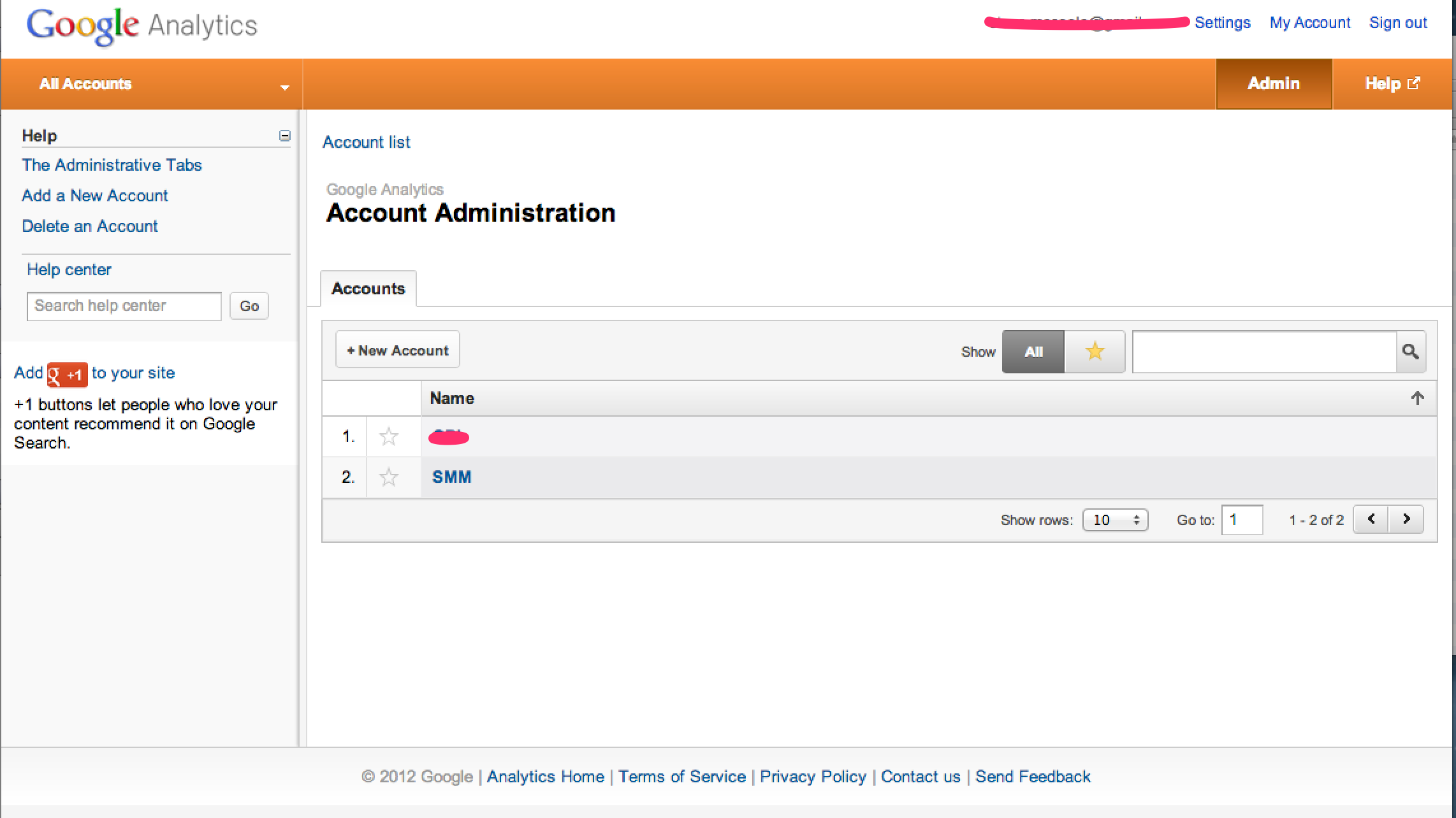 Google Analytics Login Screen