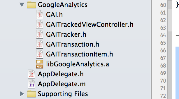 Copying Google Analytics SDK to Your XCode Project