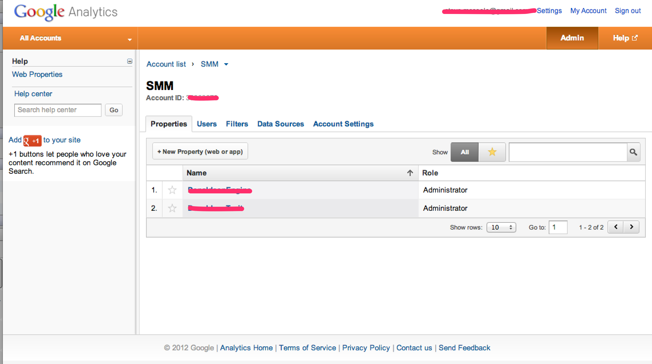 Google Analytics New Profile Screen
