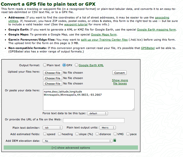 Screen shot showing conversion to GPX
