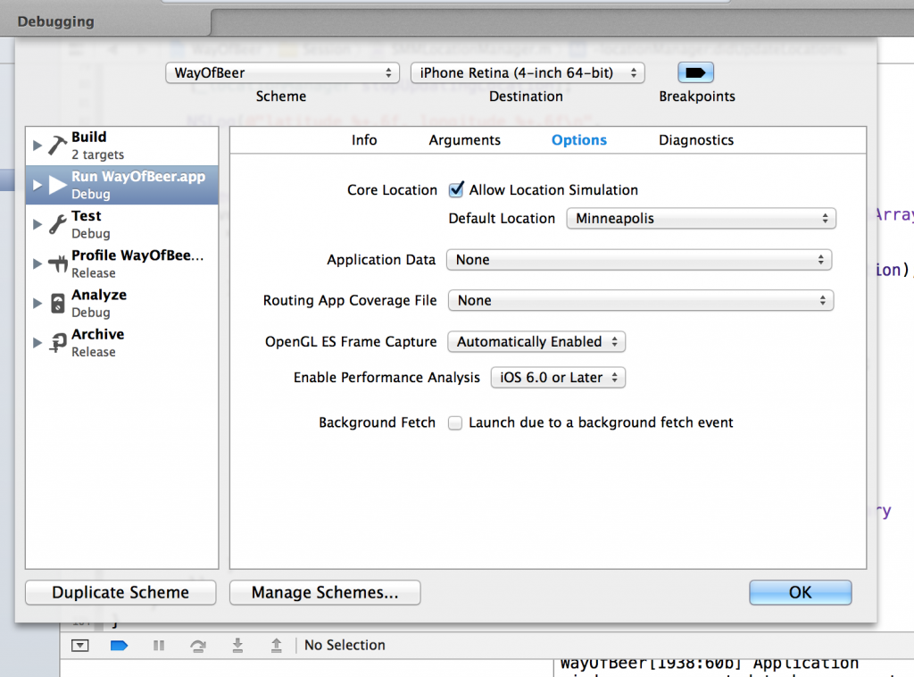 Screen shot showing default location setting in Edit Scheme